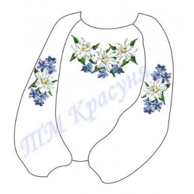 """Заготовка дитячої блузки під вишивку """"Білі лілії з фіалками"""""""