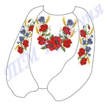 """Заготовка дитячої блузки під вишивку """"Маки і колоски"""""""