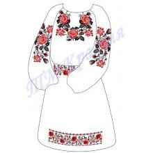 """Заготовка дитячого плаття під вишивку """"Плетючі троянди"""" (червоні)"""