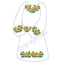 """Заготовка дитячого плаття під вишивку """"Оранжеві троянди"""""""