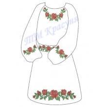 """Заготовка дитячого плаття під вишивку """"Червоні троянди"""""""