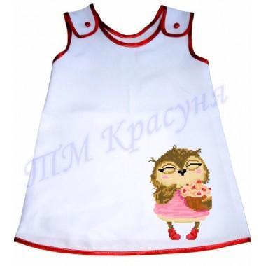 """Зшита заготовка дитячого плаття """"Птаха з тістечком"""""""