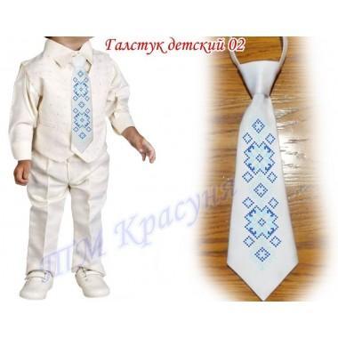 """Заготовка дитячого галстука під вишивку бісером """"Синій орнамент"""" (білий)"""
