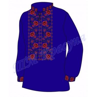 """Заготовка чоловічої вишиванки """"Плетючі троянди"""" (синя)"""