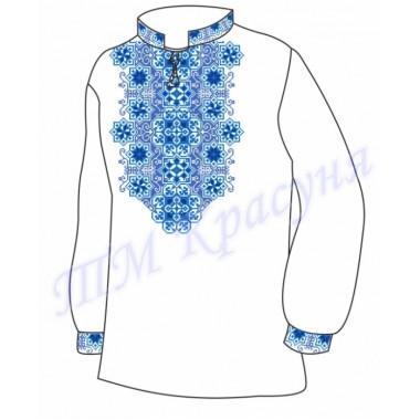"""Заготовка чоловічої вишиванки """"Восьмикутна зірка"""" (блакитно-синя)"""