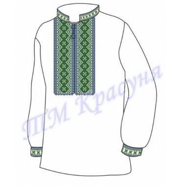 """Заготовка чоловічої вишиванки """"Зелений орнамент"""""""