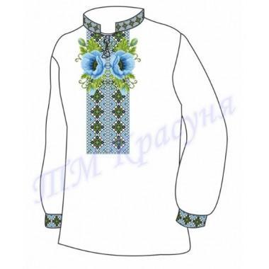 """Заготовка чоловічої вишиванки """"Орнамент з маками"""" (блакитні)"""