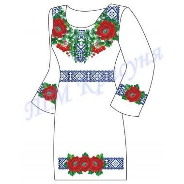 """Заготовка плаття під вишивку бісером """"Квіти та калина в орнаменті"""""""