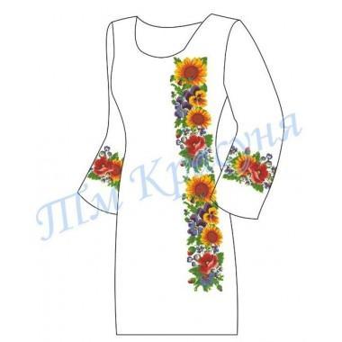 """Заготовка плаття під вишивку бісером """"Соняшники з різноманітними квітами"""""""