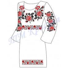 """Заготовка плаття під вишивку бісером """"Троянди"""" (червоні, варіант 2)"""