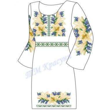 """Заготовка плаття під вишивку бісером """"Пишні білі лілії та барвінок"""""""