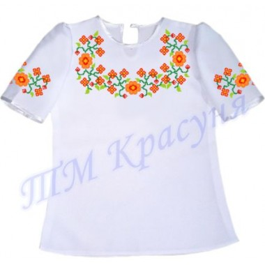 """Пошита заготовка дитячої блузки під вишивку """"Квітковий орнамент"""""""