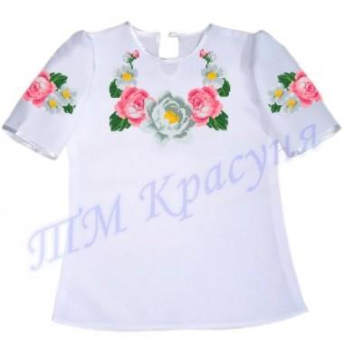 """Пошита заготовка дитячої блузки під вишивку """"Пишні троянди"""""""