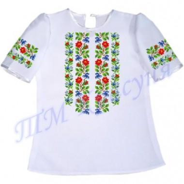 """Пошита заготовка дитячої блузки під вишивку """"Орнамент з квітів"""""""