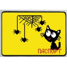 """Заготовка обкладинки на паспорт """"Котик та павуки"""""""