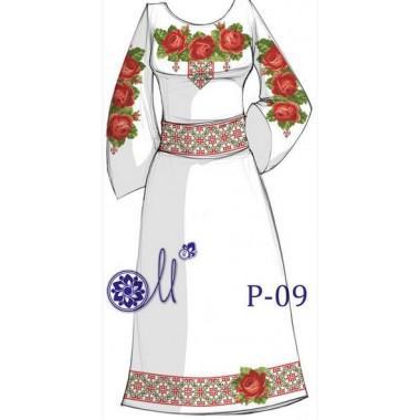 """Заготовка плаття під вишивку """"Пишність червоних троянд"""""""