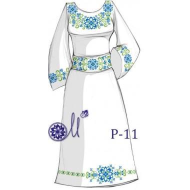 """Заготовка плаття під вишивку """"Квітковий узор"""" (блакитно-зелений)"""