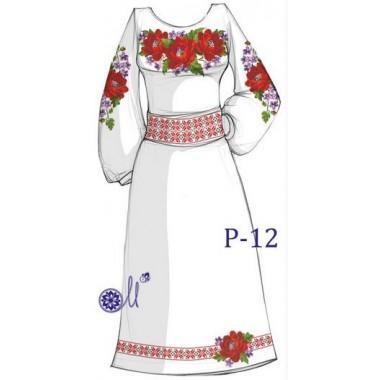 """Заготовка плаття під вишивку - композиція """"Маки з матіолами"""""""