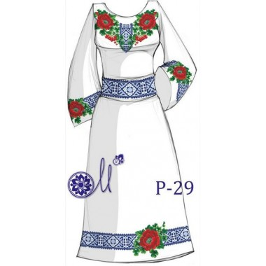 """Заготовка плаття під вишивку - композиція """"Маки та калина"""""""