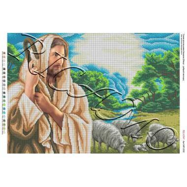 """Схема ікони для вишивки бісером """"Иисус – добрый пастырь"""" (А2)"""