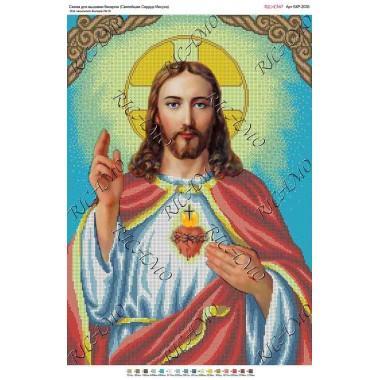 """Схема ікони для вишивки бісером """"Святейшее Сердце Иисуса"""" (А2)"""
