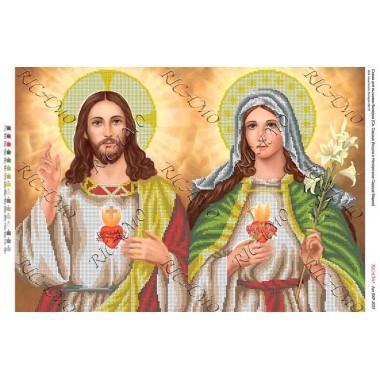 """Схема ікони для вишивки бісером """"Св. Сердце Иисуса и Непорочное Сердце Марии"""" (А2)"""