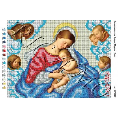 """Схема ікони для вишивки бісером """"Мадонна і дитина"""" (А3)"""