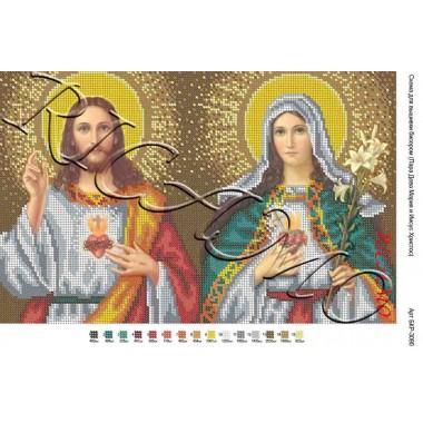 """Схема ікони для вишивки бісером """"Пара Діва Марія та Ісус Христос"""" (А3)"""