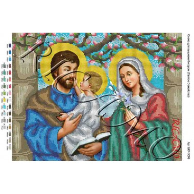 """Схема ікони для вишивки бісером """"Святое семейство"""" (А3)"""