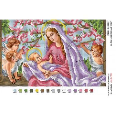 """Схема ікони для вишивки бісером """"Мадонна в саду"""""""