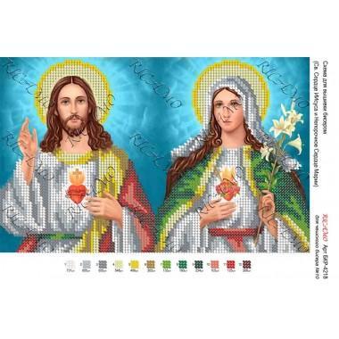 """Схема ікони для вишивки бісером """"Св. Сердце Иисуса и Непорочное Сердце Марии"""""""