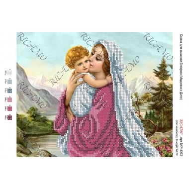 """Схема ікони для вишивки бісером """"Мадонна и Дитя"""""""