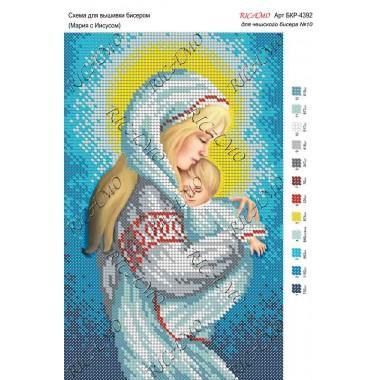 """Схема ікони для вишивки бісером """"Мария с Иисусом"""""""
