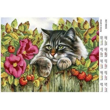 """Схема для вишивки бісером """"Котик в квітах"""""""