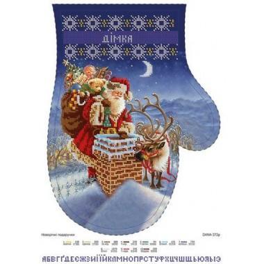 """Схема для вишивки бісером """"Новорічні подарунки"""" (рукавиця)"""