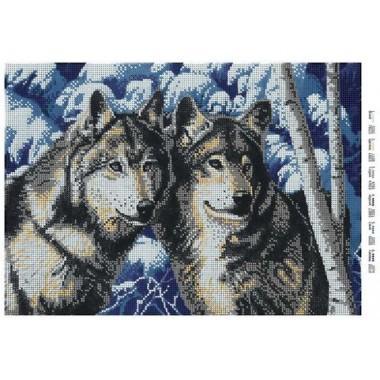 """Схема для вишивки бісером """"Вовки"""" (повна зашивка)"""