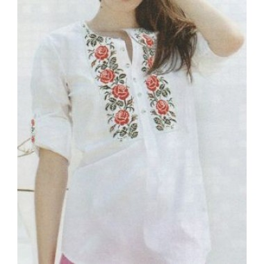 """Схема для вишивання сорочки або плаття хрестиком """"Червоні троянди"""""""