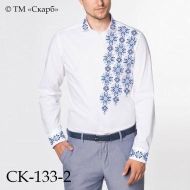 """Заготовка чоловічої сорочки під вишивку """"Монохромний розпис"""" (блакитно-синій)"""