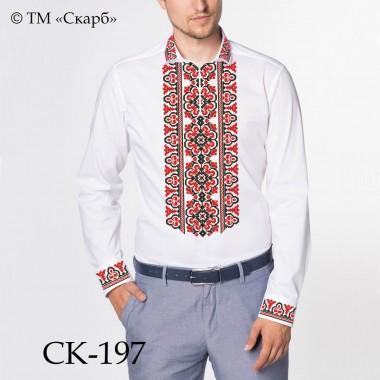 """Заготовка чоловічої сорочки під вишивку - орнамент """"Леся"""" (червоно-чорний)"""