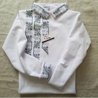 """Заготовка дитячої сорочки """"Стежина з орнаменту"""" (чорно-сіра)"""