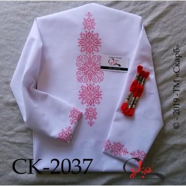 """Заготовка блузки під вишивку """"Монохромний розпис"""" (червоний орнамент)"""