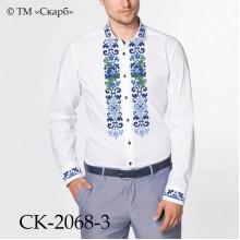 """Заготовка чоловічої сорочки під вишивку """"Сині троянди в орнаменті"""" (варіант 2)"""