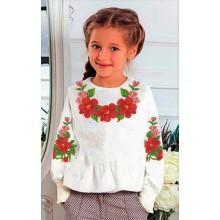 """Заготовка дитячої блузки """"Яскраві червоні квіти"""""""