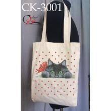 """Еко-сумка під вишивку """"Котик з бантиком"""""""