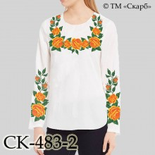 """Заготовка жіночої блузки під вишивку """"Класичні троянди"""" (оранжеві)"""