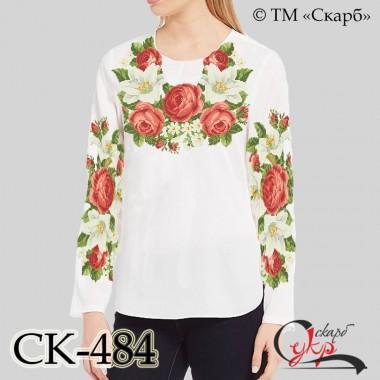 """Заготовка жіночої блузки під вишивку """"Троянди з білими ліліями"""""""