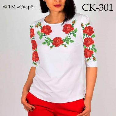 """Заготовка жіночої блузки під вишивку """"Пишні розові троянди"""""""
