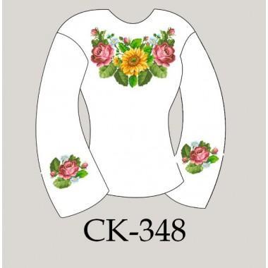 """Заготовка жіночої блузки під вишивку - композиція """"Соняшники, півонії та ромашки"""""""