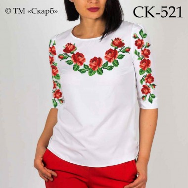 """Заготовка жіночої блузки під вишивку """"Класичні червоні троянди"""""""