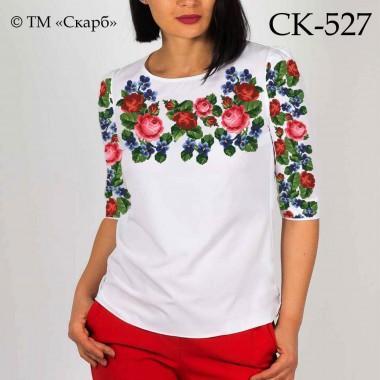 """Заготовка жіночої блузки під вишивку """"Букет троянд з фіалками"""" (варіант 2)"""